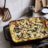 Lasagne mit Linsen und Pilzen