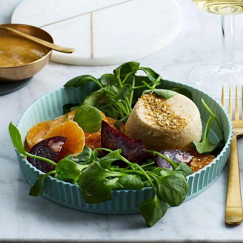 Portulaksalat mit Roter Bete, Clementinen und Bohnen-Flans