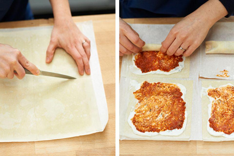 Yufka-Teig für Börek mit Ricotta-Creme betreichen