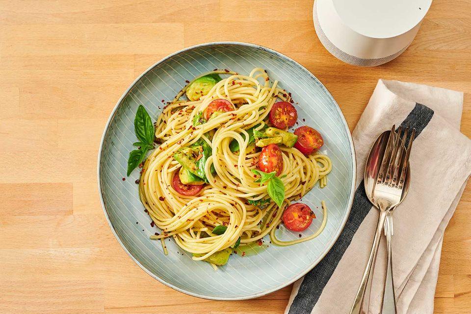 Teller Spaghetti, gekocht mit essen&trinken audiocooking