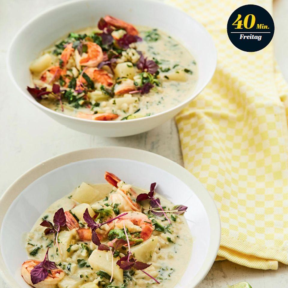 Rezept: Kohlrabi-Kokos-Suppe mit Garnelen