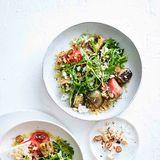 Auberginen-Bulgur-Salat mit Rauke und Tomaten