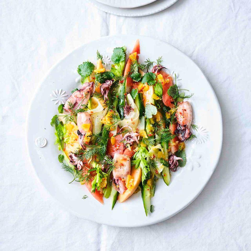 Melonen-Calamaretti-Salat