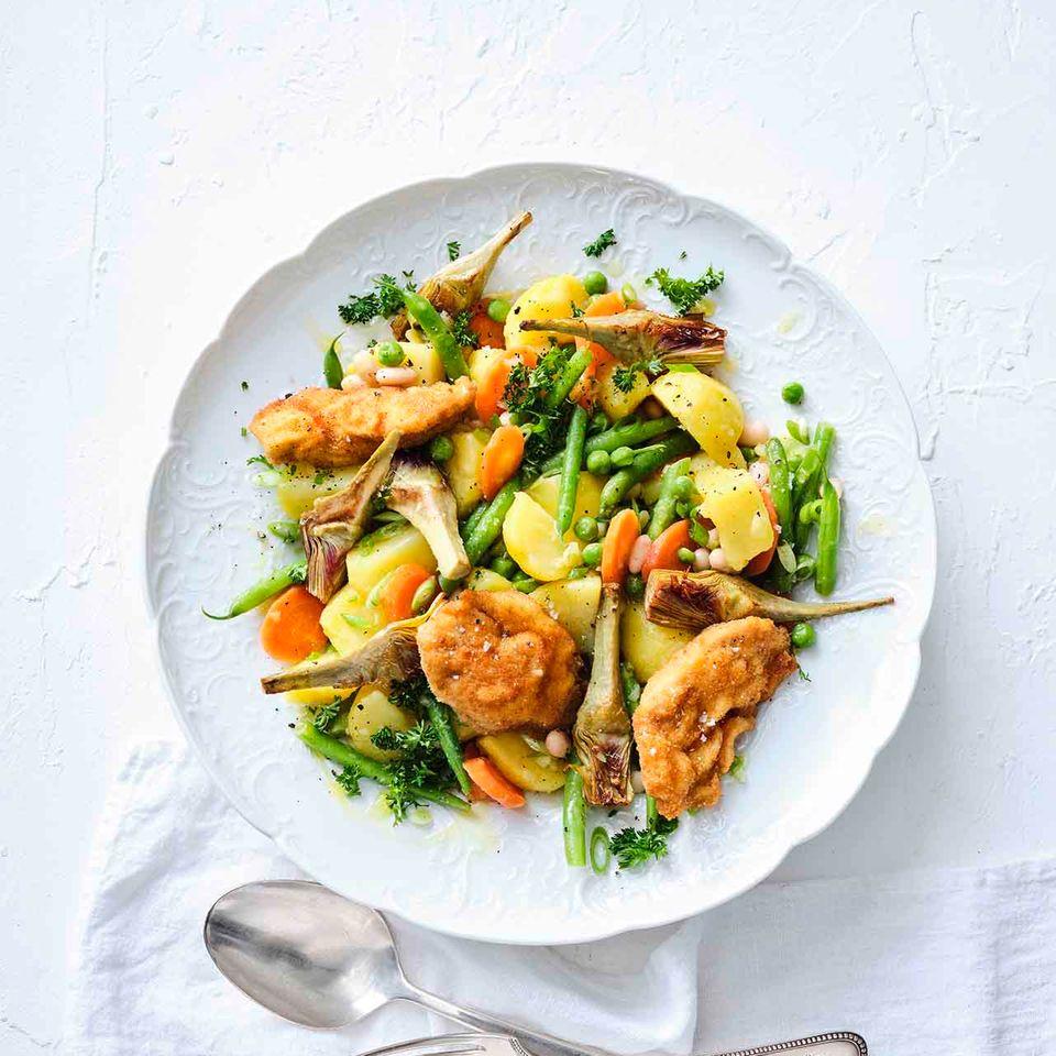 Kartoffel-Artischocken-Salat mit Hühnerbrust