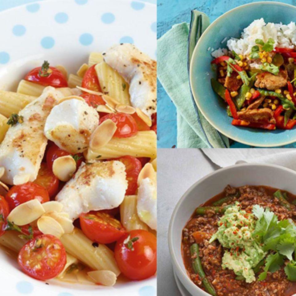 Teaser Wochenplan 9 mit Fisch-Pasta, Chili und Asia-Pfanne