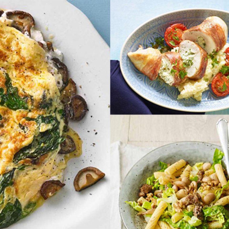 Teaser Wochenplan 10 mit gefülltem Hähnchen, Bohnen-Mett-Pasta und rauke-Omelett