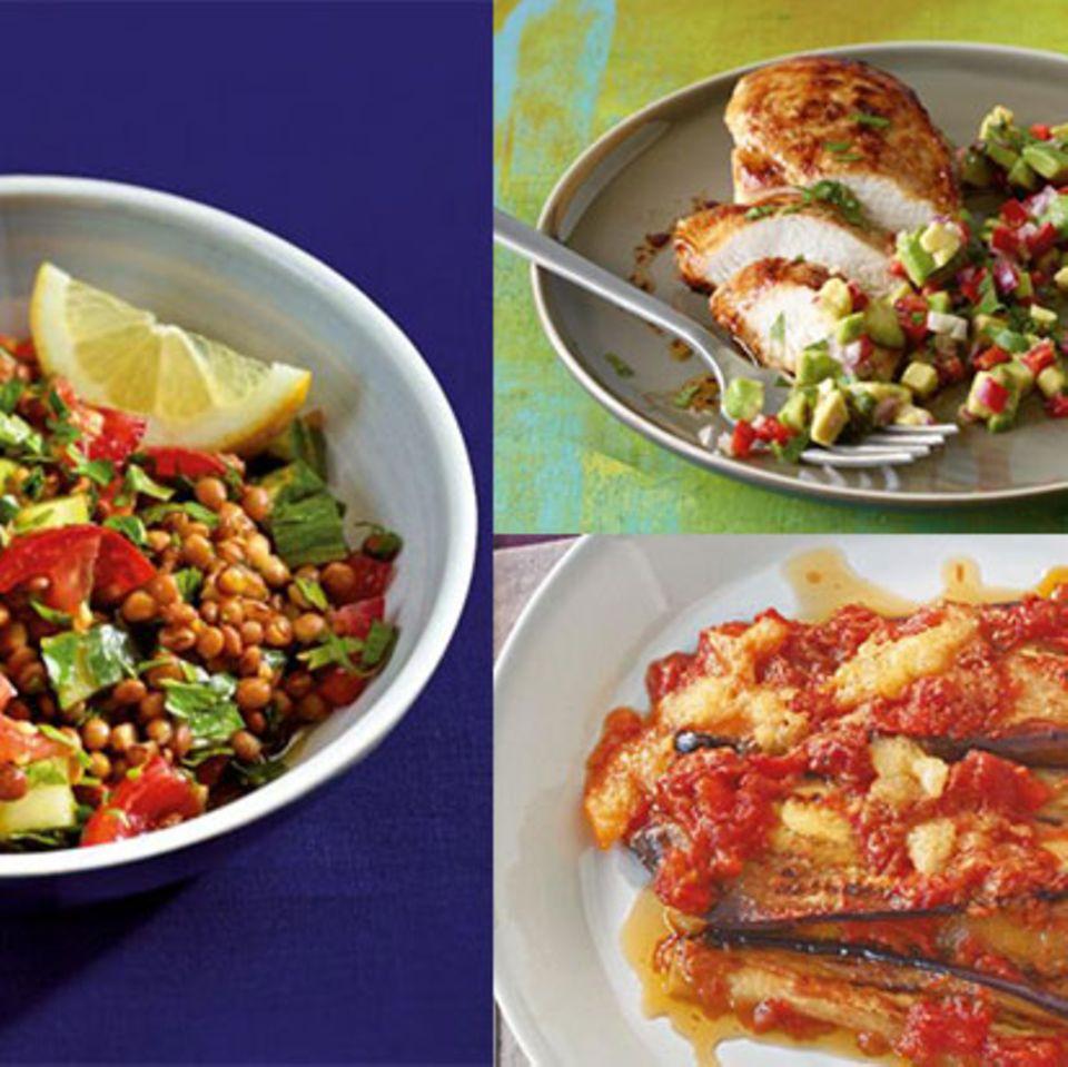 Teaser Wochenplan 12 mit Linsensalat, überbackener Aubergine und Hähnchenbrust mit Avocado-Salsa