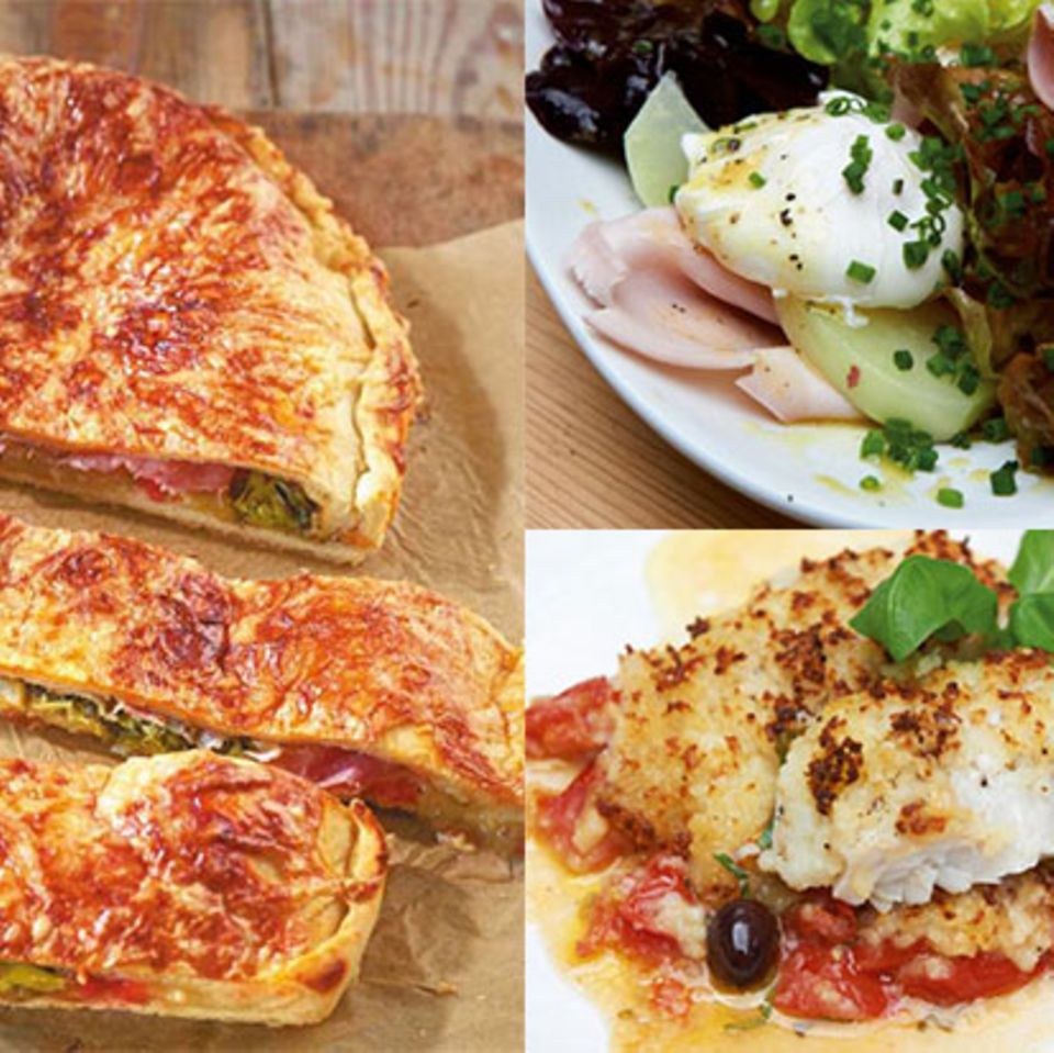 Teaser Wochenplan 13 mit Monster-Calzone, Eiersalat und Seelachs mit Kartoffelkruste