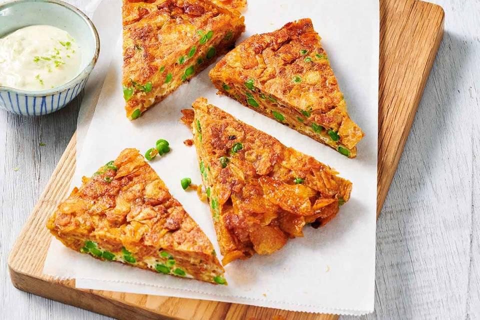 Kartoffelchips-Erbsen-Tortilla mit Limetten-Aioli Rezept