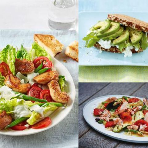 Teaser Wochenplan 17 mit buntem Hähnchensalat, Sattmacher-Stulle und Gemüse-Nudel-Salat mit Lachs