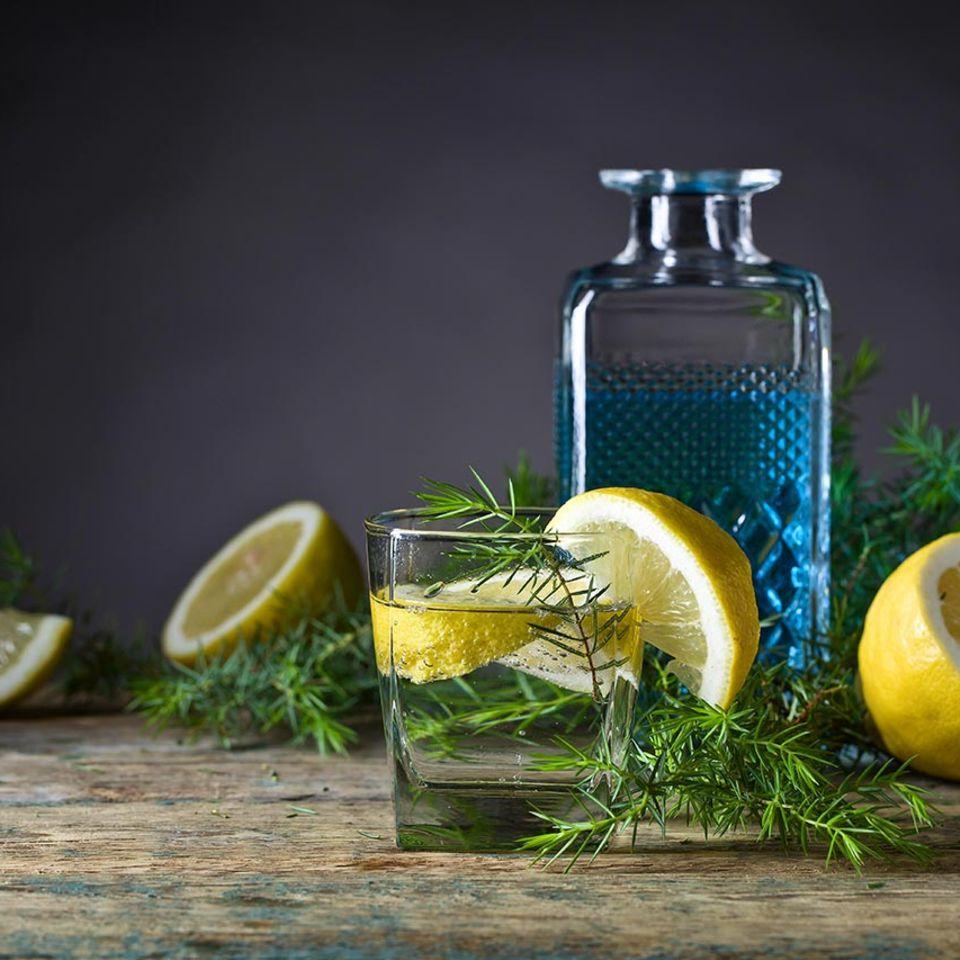 Gin Tonic mit Zitrone und Rosmarin