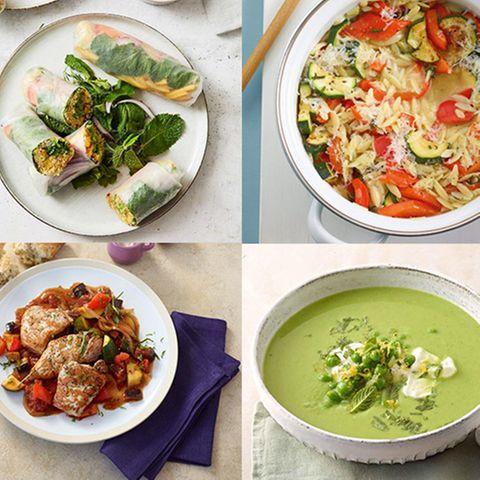 Teaser Wochenplan 21 mit Erbsensuppe, Ratatouille-Schnitzel, Gemüse-Nudel-Risotto, Bulgur-Summerrolls