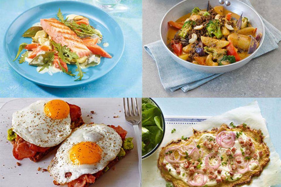 Teaser Wochenplan 25 mit Strammer Max, Blumenkohl-Pizza, Lachs auf Gemüse, Curry-Pfanne