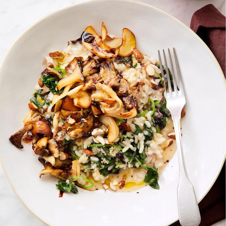Kale-Risotto mit Pilzen