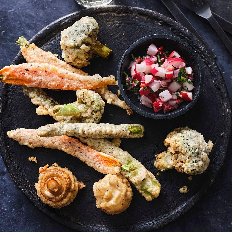 Gebackene Gemüse mit Radieschen-Salsa
