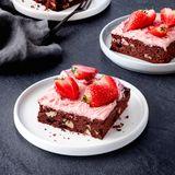 Brownies mit Erdbeer-Ganache