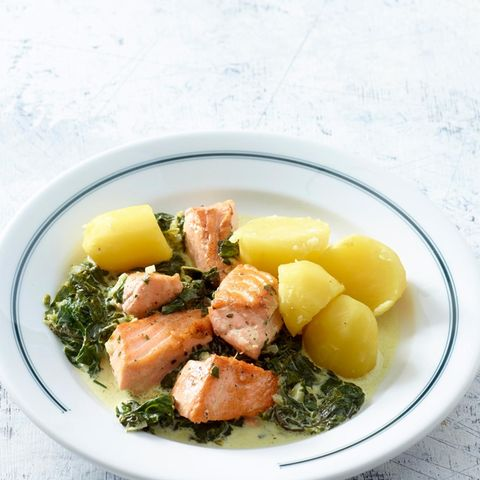 Lachs in Spinatrahm