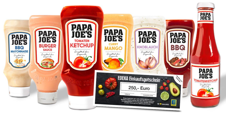 Gewinnspiel: 2x 1 EDEKA-Einkaufsgutschein und ein Papa-Joe's-Grillpaket im Wert von ca. 260 €