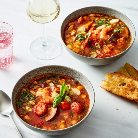 Rote-Linsen-Eintopf mit Chorizo und Garnelen