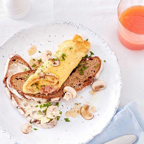 Gefülltes Schinken-Pilz-Omelett