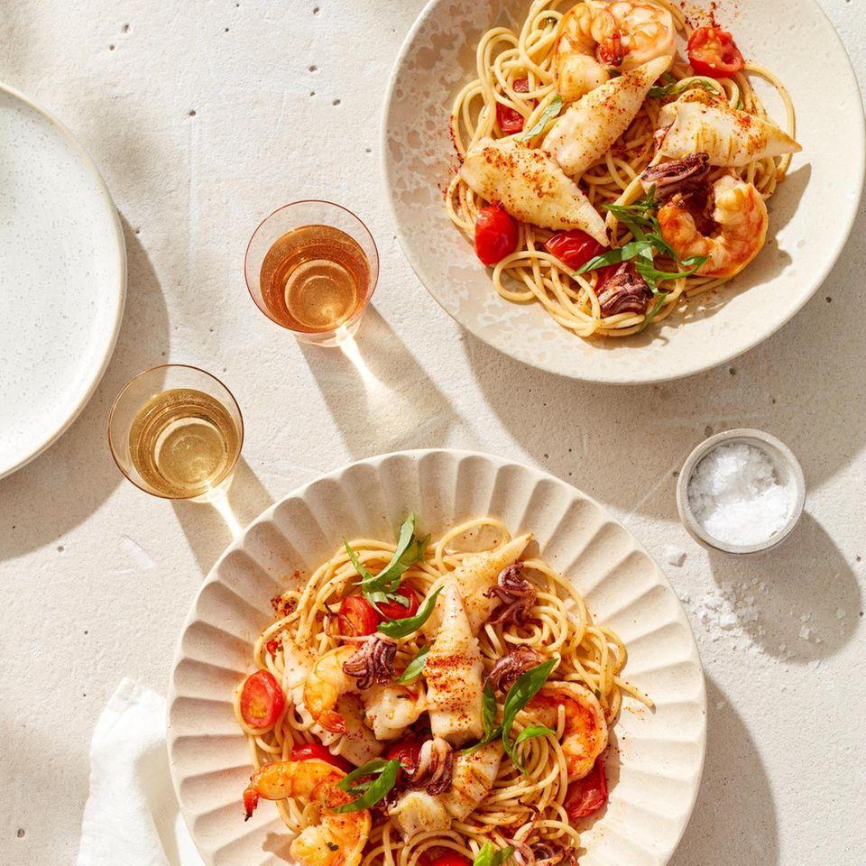 Spaghetti mit Garnelen und Calamaretti