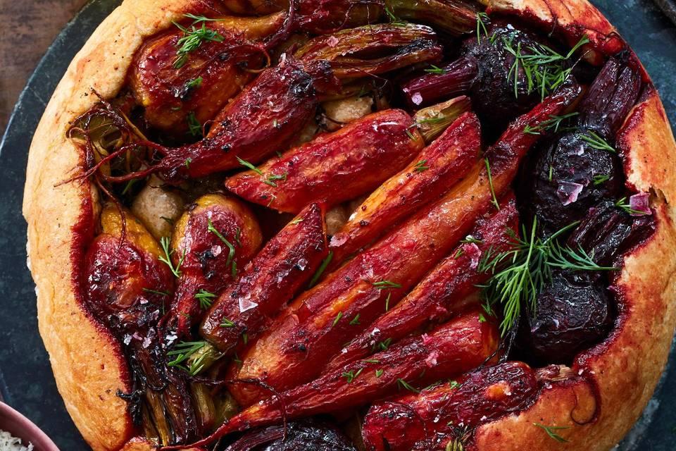 Gestürzter Gemüsekuchen mit dreierlei Dips Rezept