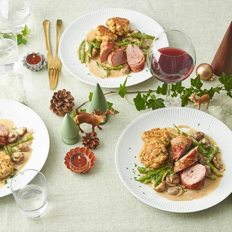 Schweinemedaillons mit Pilz-Bohnen-Gemüse