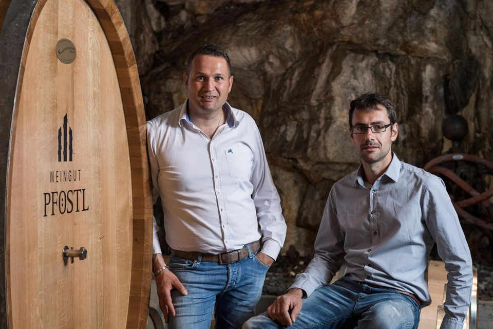 Die Winzer Stefan Pföstl und Georg Weger vom Weingut Pföstl